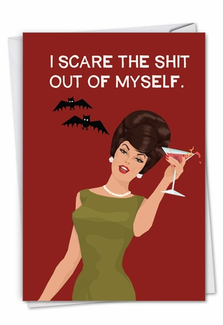 Humorous Halloween Paper Greeting Card By Bluntcard From NobleWorksCards.com - Scare Myself