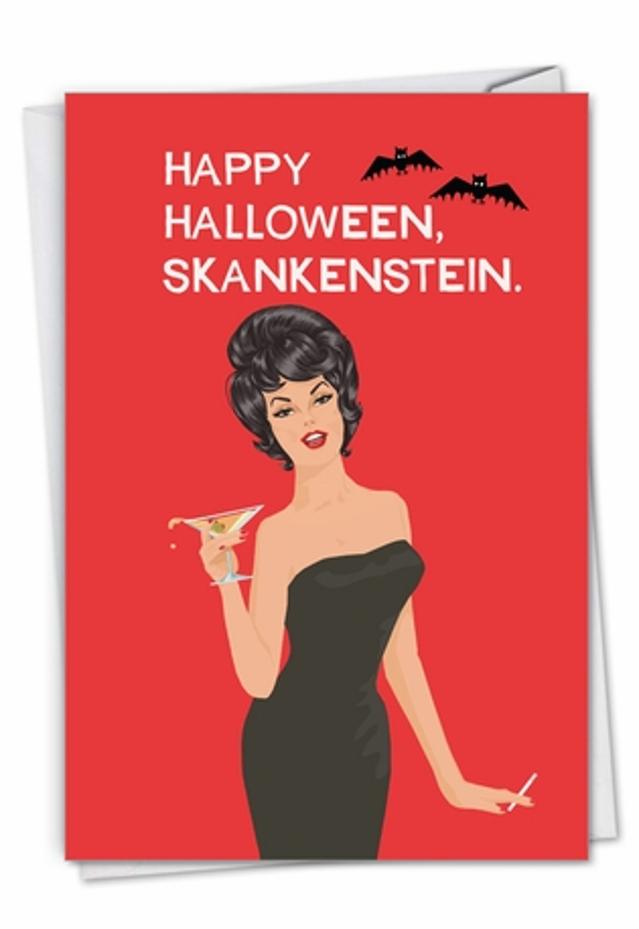Hysterical Halloween Printed Greeting Card By Bluntcard From NobleWorksCards.com - Skankenstein