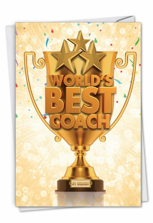 Humorous Thank You Paper Card From NobleWorksCards.com - World's Best Coach