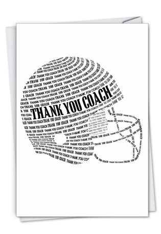 Stylish Thank You Paper Greeting Card From NobleWorksCards.com - Football Helmet