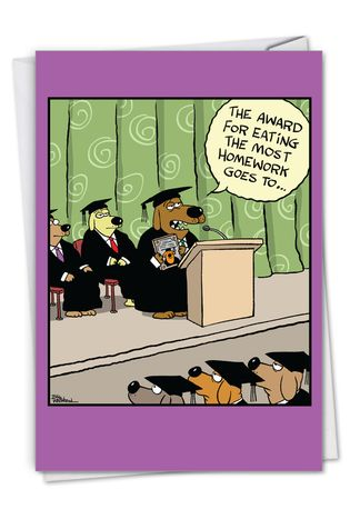 Funny Graduation Paper Greeting Card By Bill Whitehead From NobleWorksCards.com - Dog Award
