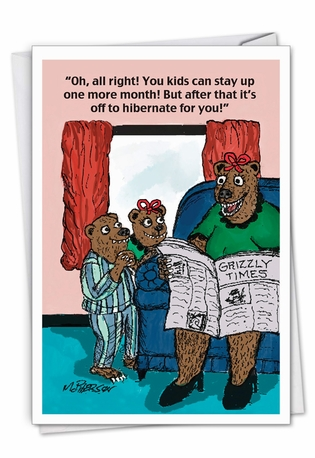 Funny Mother's Day Paper Greeting Card By John McPherson From NobleWorksCards.com - Bear Mom