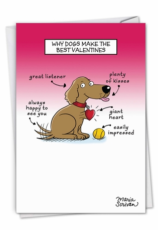 Hysterical Valentine's Day Greeting Card By Maria Scrivan From NobleWorksCards.com - Dog Lovers