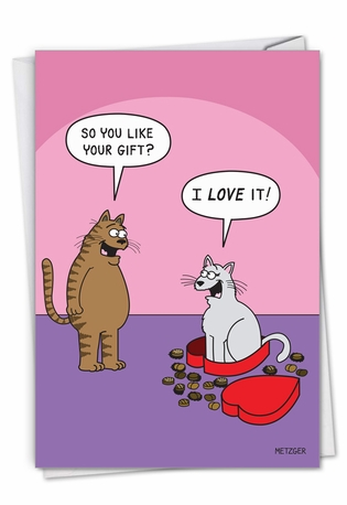 Cat In Candy: Hysterical Valentine's Day Printed Greeting Card