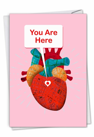 Hilarious Valentine's Day Printed Greeting Card From NobleWorksCards.com - Heart Map