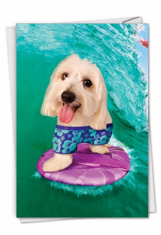 Dog Surfer: Humorous Birthday Card