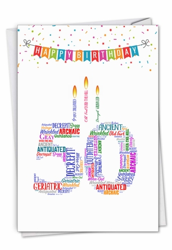 Word Cloud-50: Humorous Milestone Birthday Card