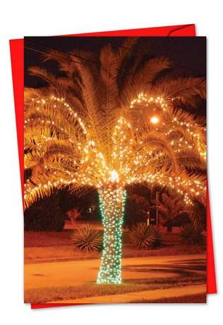 Creative Christmas Paper Greeting Card from NobleWorksCards.com - Holiday Palms