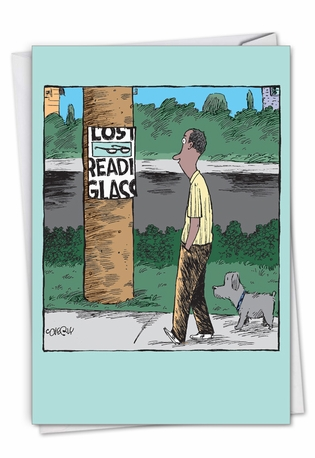 Lost Reading Glasses: Humorous Birthday Paper Card