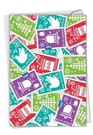 Stylish Christmas Paper Greeting Card from NobleWorksCards.com - Stamps of the Season