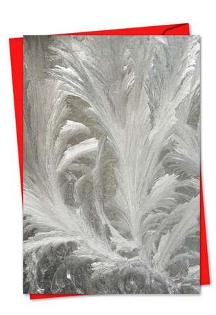 Stylish Christmas Printed Greeting Card from NobleWorksCards.com - Ice Feathers