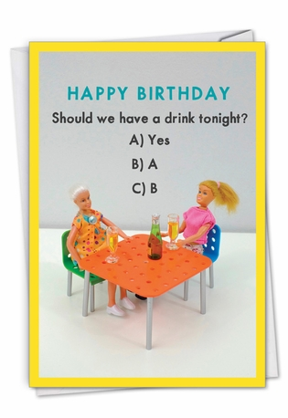 Multiple Choice Drink: Humorous Birthday Paper Greeting Card