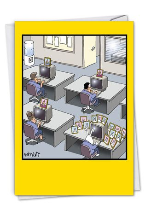 Rabbit Worker: Hilarious Birthday Printed Greeting Card