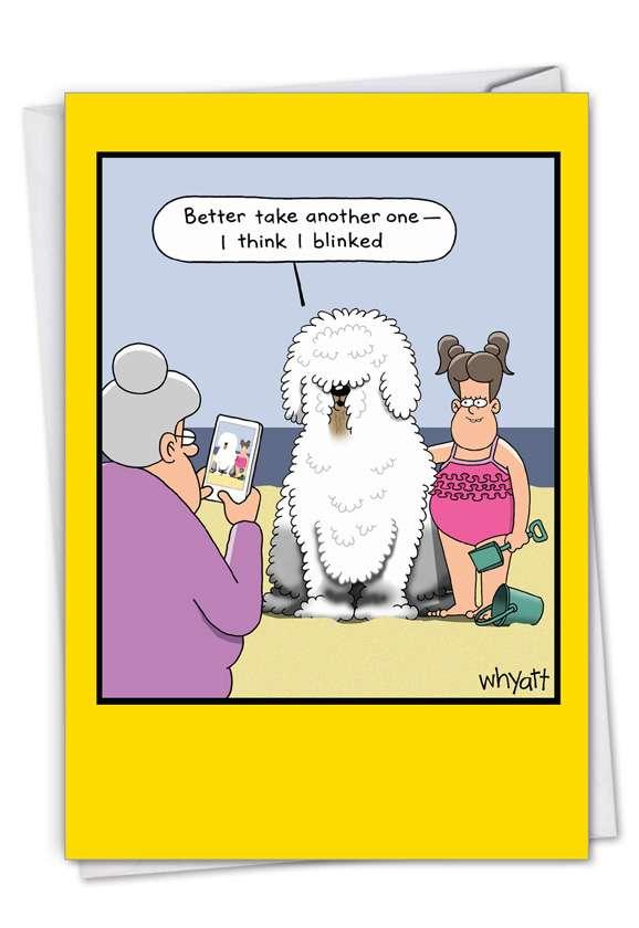 Blinking Dog: Hilarious Birthday Printed Card
