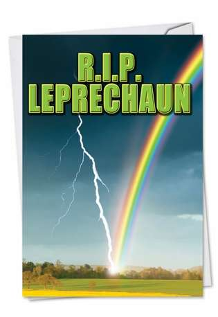 Humorous St. Patrick's Day Printed Greeting Card from NobleWorksCards.com - R.I.P. Leprechaun