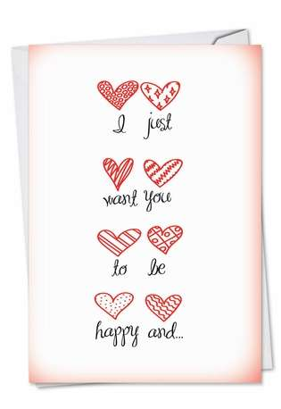 Hysterical Valentine's Day Printed Card from NobleWorksCards.com - Happy and Naked