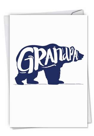 Stylish Father's Day Grandpa Paper Card from NobleWorksCards.com - Grandpa Bear
