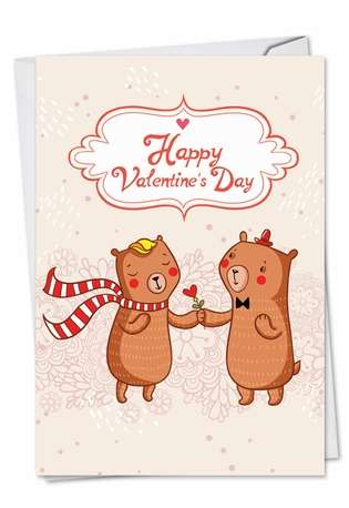 Stylish Valentine's Day Paper Greeting Card from NobleWorksCards.com - Valentine Bears