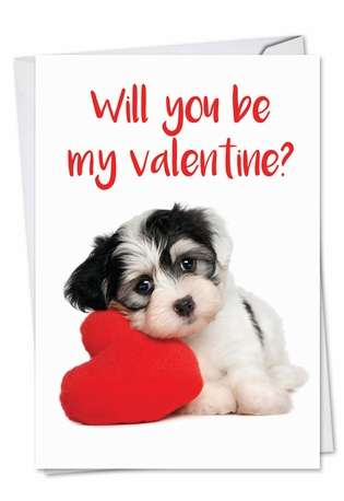 Hilarious Valentine's Day Printed Greeting Card from NobleWorksCards.com - Puppy Heart