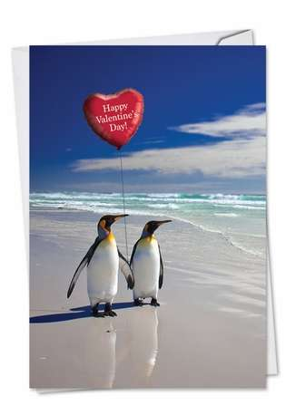 Humorous Valentine's Day Printed Greeting Card from NobleWorksCards.com - Beach Penguins