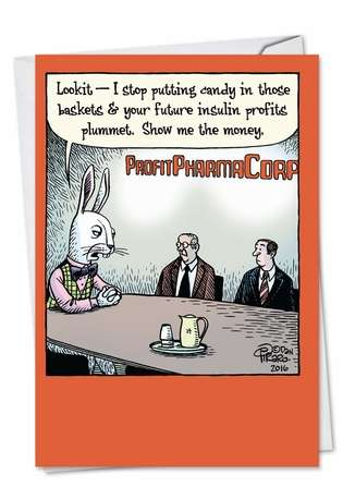 Funny Easter Paper Greeting Card by Dan Piraro from NobleWorksCards.com - Blackmail Bunny