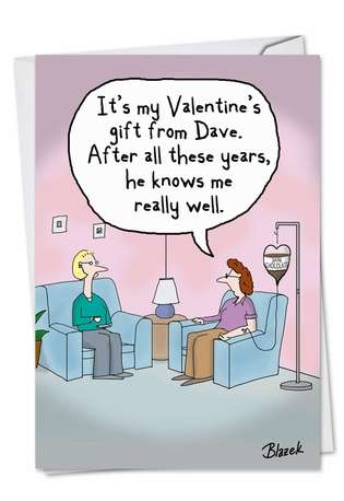 Hilarious Valentine's Day Paper Card by Dave Blazek from NobleWorksCards.com - Intravenous Chocolate