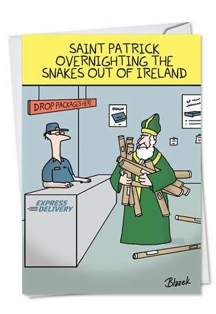 Humorous St. Patrick's Day Greeting Card by Dave Blazek from NobleWorksCards.com - Overnighting The Snakes