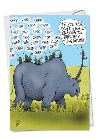 Hysterical Father's Day Paper Greeting Card by Gary McCoy from NobleWorksCards.com - Rhino Ride