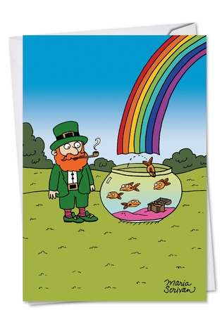 Humorous St. Patrick's Day Paper Card by Maria Scrivan from NobleWorksCards.com - End of Rainbow Treasure