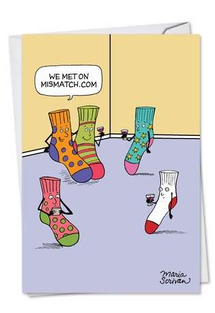 Hilarious Valentine's Day Paper Greeting Card by Maria Scrivan from NobleWorksCards.com - Mismatched Socks