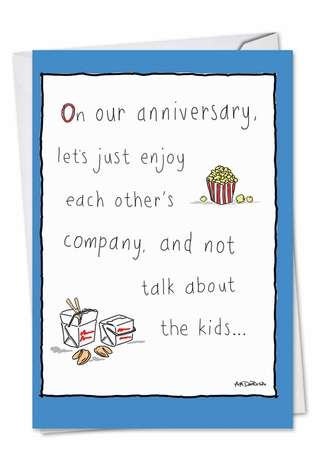 Humorous Anniversary Greeting Card by Ann Marie DeRosa from NobleWorksCards.com - Worry-Free