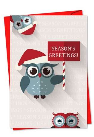 Stylish Christmas Greeting Card from NobleWorksCards.com - Happy Owlidays