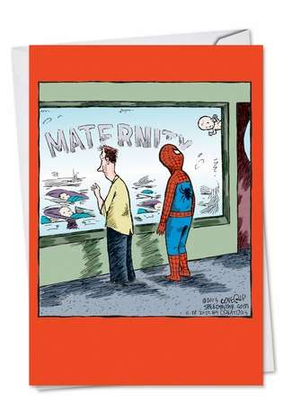 Humorous Baby Paper Greeting Card by Dave Coverly from NobleWorksCards.com - Spiderman Baby