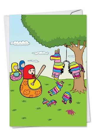 Hysterical Birthday Printed Card by Jon Carter from NobleWorksCards.com - Nesting Pinatas