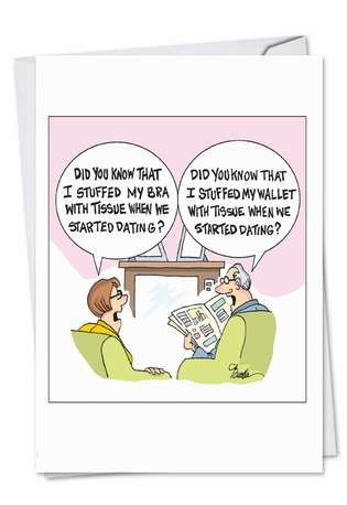 Humorous Anniversary Paper Greeting Card by Martin Bucella from NobleWorksCards.com - Stuffed When Dating