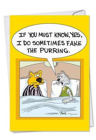 Fake Purring: Hysterical Birthday Paper Greeting Card