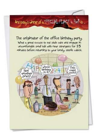 Funny Birthday Paper Greeting Card by Mike Shiell from NobleWorksCards.com - Office Birthday Party