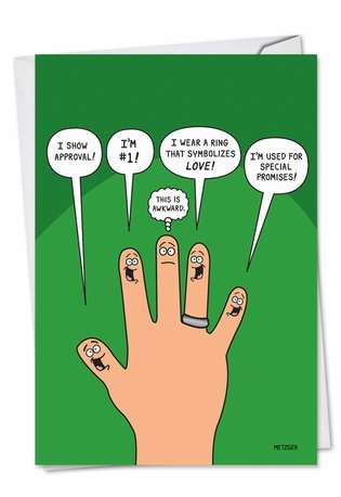 Humorous Birthday Paper Greeting Card by Scott Metzger from NobleWorksCards.com - Middle Finger