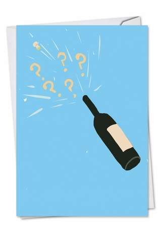 Funny Engagement Printed Greeting Card by Stanley Makowski from NobleWorksCards.com - Champagne Question