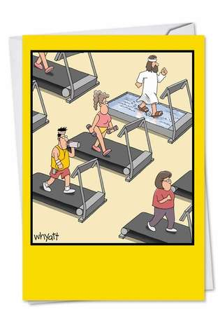 Humorous Birthday Printed Card by Tim Whyatt from NobleWorksCards.com - Exercise On Water