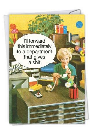 Humorous Administrative Professionals Day Printed Greeting Card by Ephemera from NobleWorksCards.com - Department Gives a Shit
