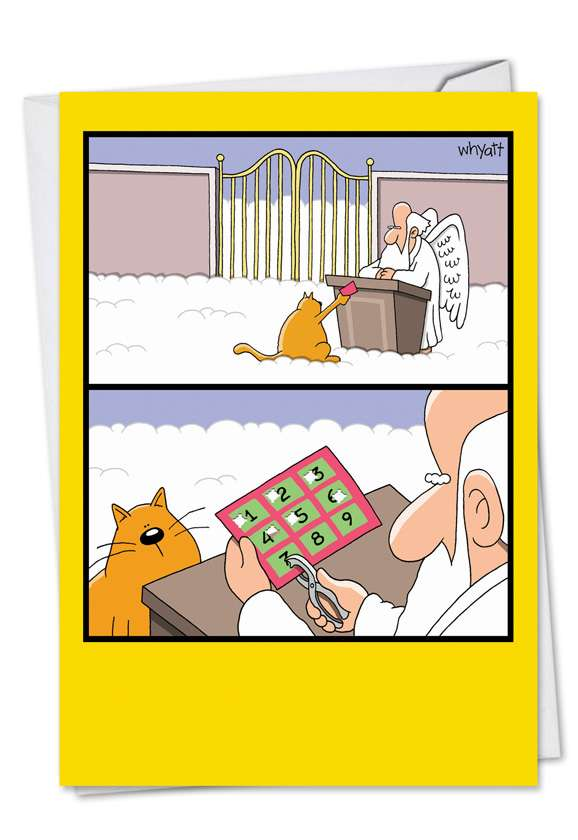 Humorous Birthday Printed Greeting Card by Tim Whyatt from NobleWorksCards.com - Nine Lives