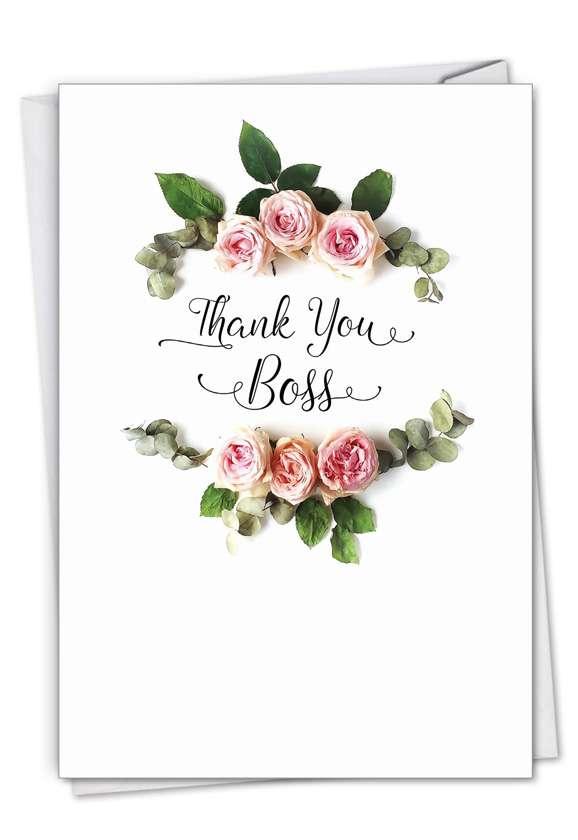 Stylish Boss Thank You Card From NobleWorksCards.com - Elegant Flowers