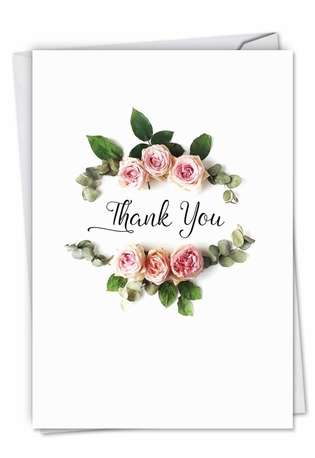 Stylish Thank You Printed Card from NobleWorksCards.com - Elegant flowers