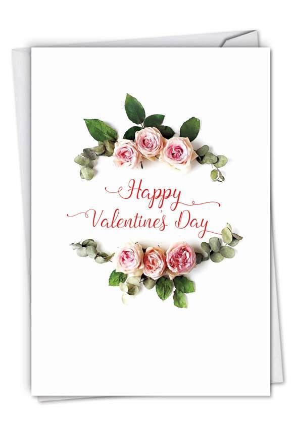 Stylish Valentine's Day Paper Card From NobleWorksCards.com - Elegant Flowers