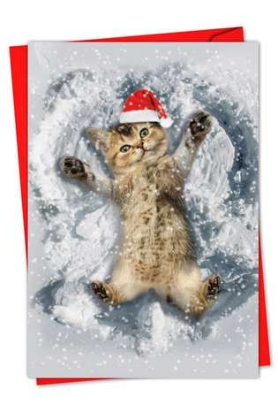 Stylish Christmas Printed Greeting Card from NobleWorksCards.com - Critter Snow Angels