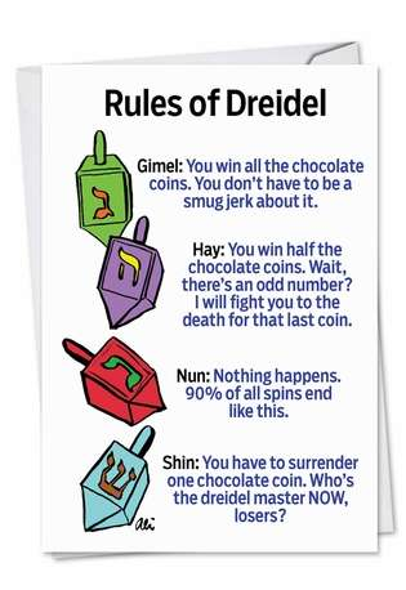 Hysterical Hanukkah Printed Card by Alison Solomon from NobleWorksCards.com - Rules of Dreidel