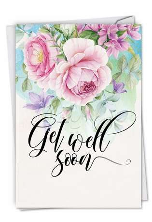 Stylish Get Well Greeting Card by Batya Sagy from NobleWorksCards.com - Get Well Florals