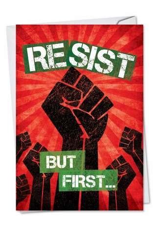 Hilarious Christmas Printed Greeting Card from NobleWorksCards.com - Resist