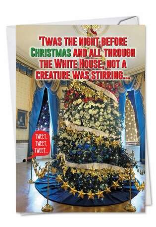 Humorous Christmas Printed Card from NobleWorksCards.com - Trump Twas The Night